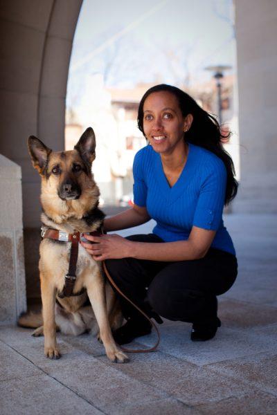 Image of Haben Girma with her Seeing Eye dog Mylo