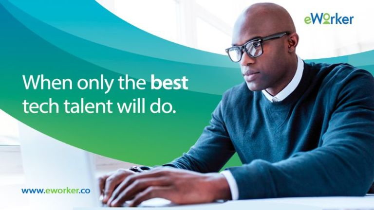 web page from eworker.co showing a man working at a computer and the word When only the best tech talent will do.