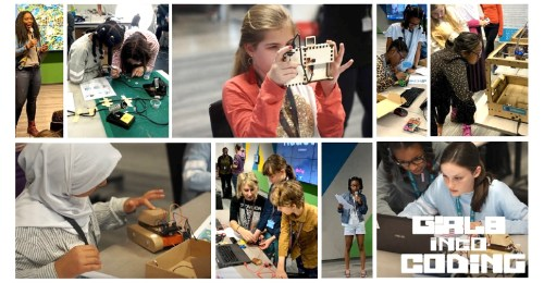 Collage of photos showing girls using different forms of tech