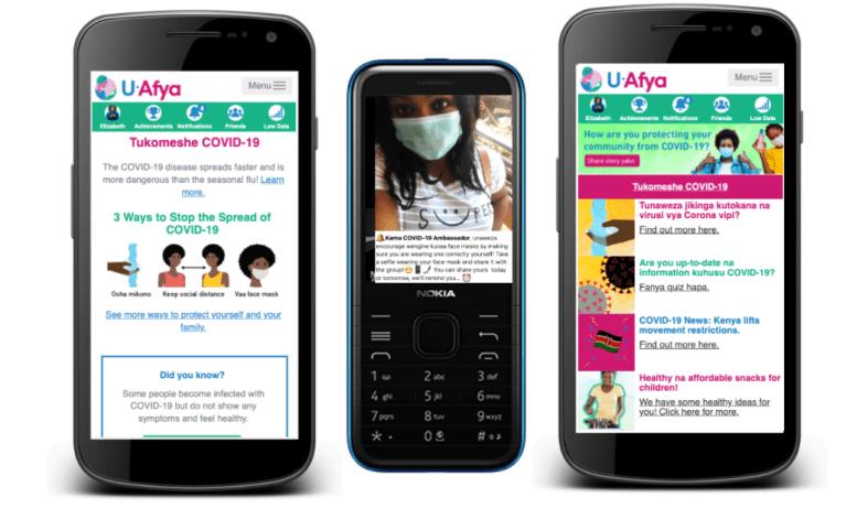 E Afya app on smartphones