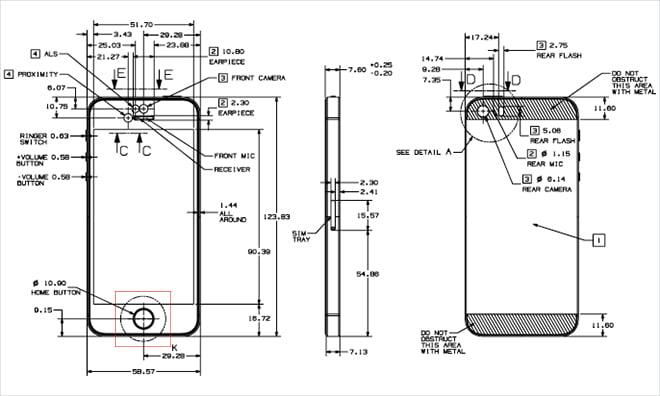 Apple divulga diagramas técnicos do iPhone 5s e iPhone 5c