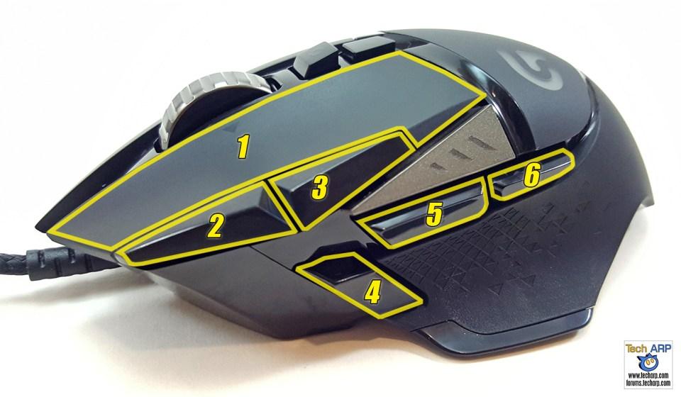Logitech G502 Proteus Spectrum Gaming Mouse buttons