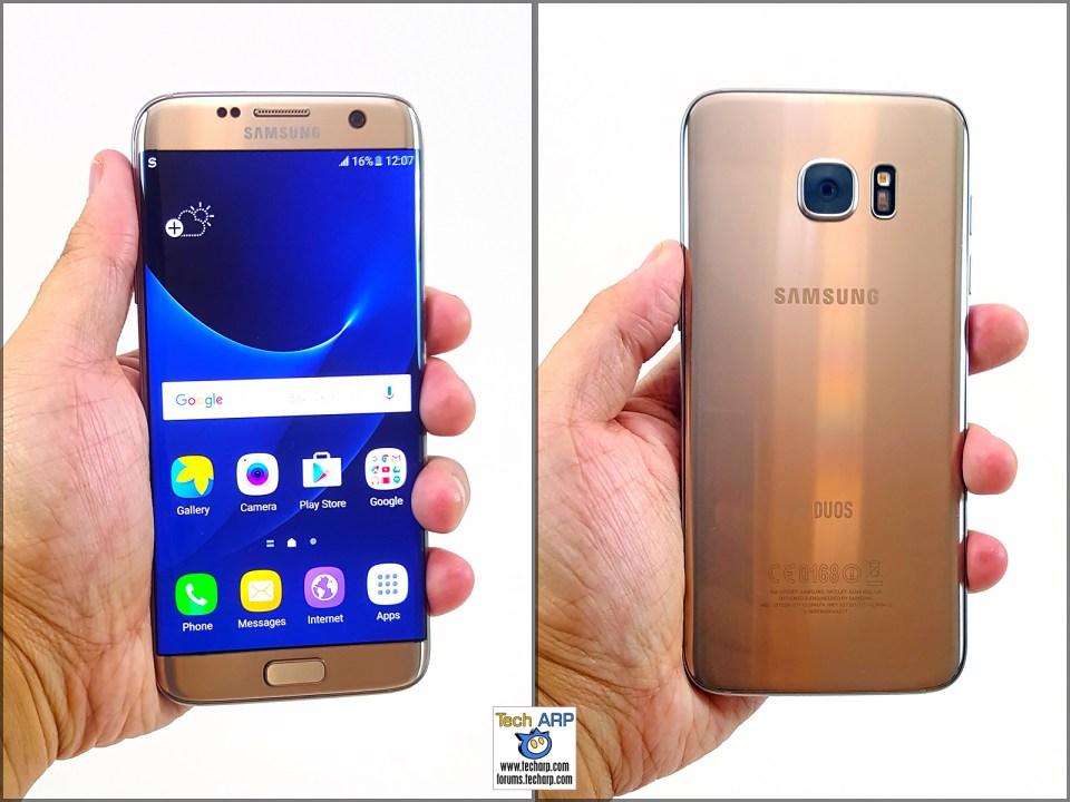 Samsung Galaxy S7 edge in hand