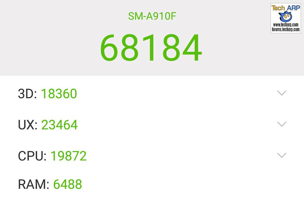 Samsung Galaxy A9 Pro AnTuTu results