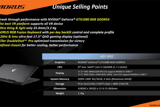 AORUS X7 DT V6 Gaming Laptop with GeForce GTX 1080
