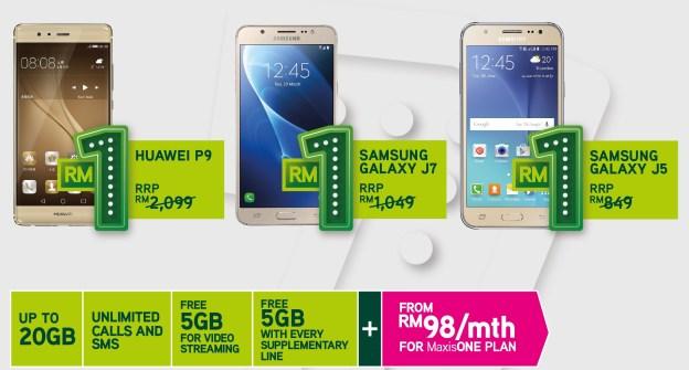 MaxisONE Deals - 4G Smartphones At Just RM1!