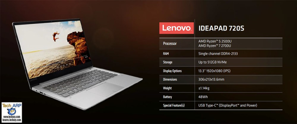First AMD Ryzen Mobile Notebooks Revealed - Lenovo IdeaPad 720S