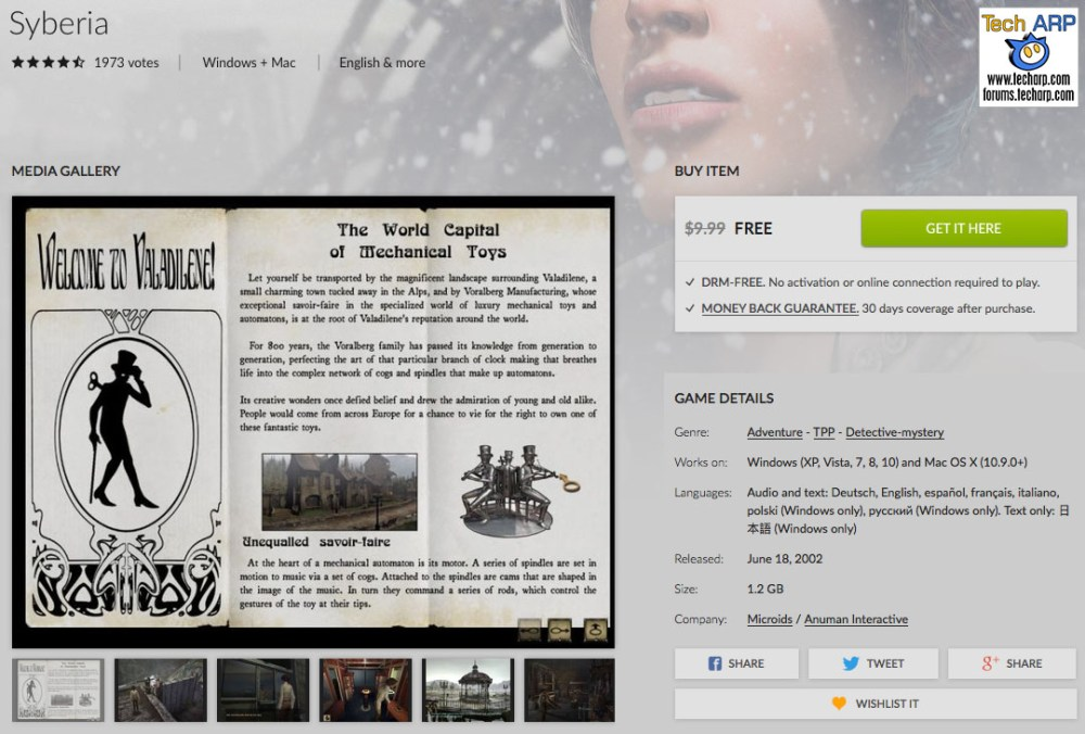 Get Syberia FREE For A Limited Time!
