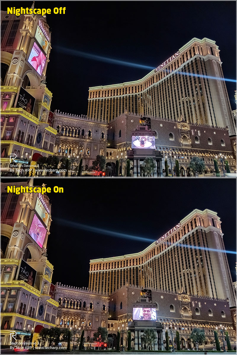 Realme 3 Nightscape Las Vegas comparison