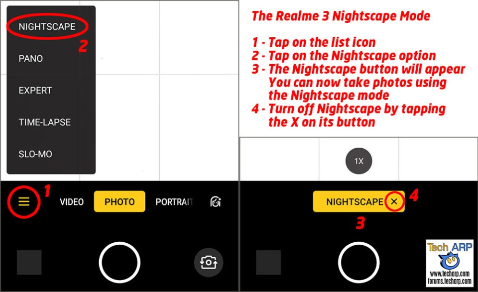 Realme 3 Nightscape Mode instructions