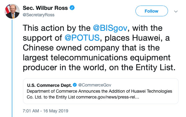 Wilbur Ross HUAWEI Entity List