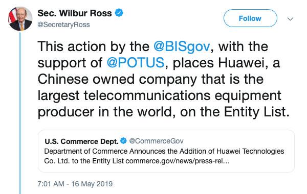 Wilbur Ross HUAWEI Entity List