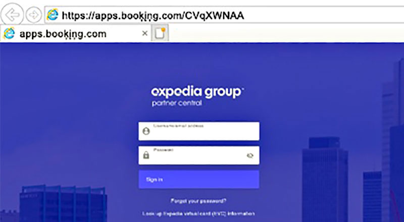 Fake Expedia page travel scam example