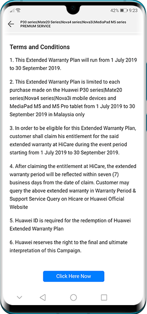 HUAWEI extended warranty redemption in HiCare app