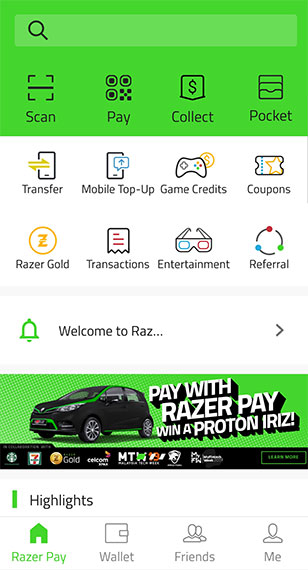 Razer Pay main screen