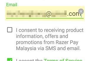 Razer Pay registration