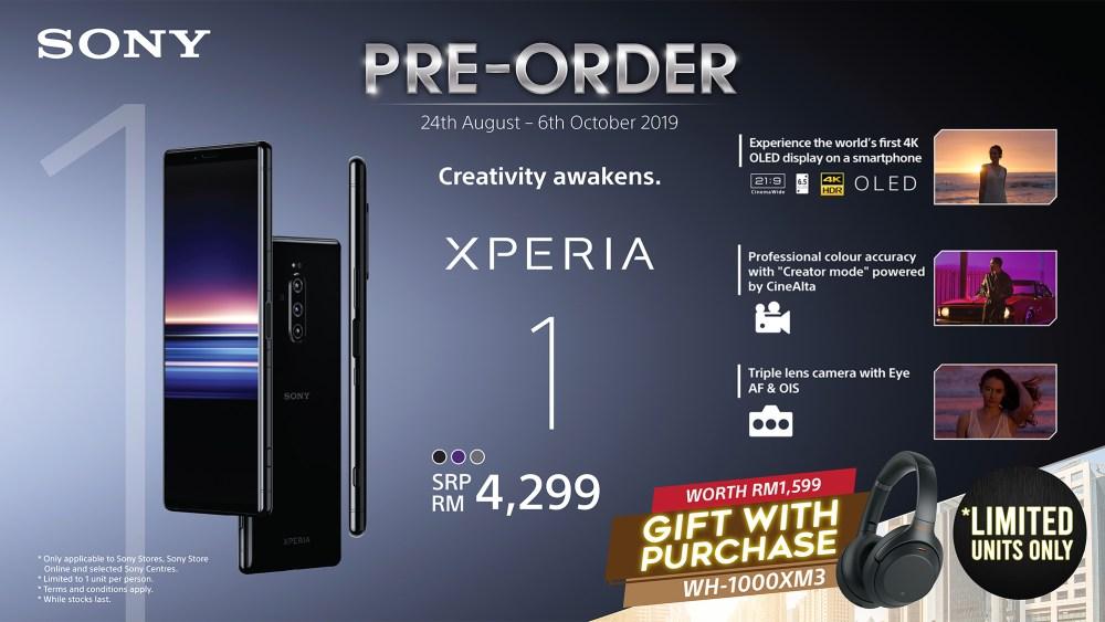Sony Xperia 1 pre-order promo August 2019