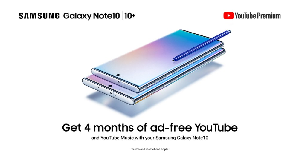 Samsung Galaxy Note 10 YouTube Premium