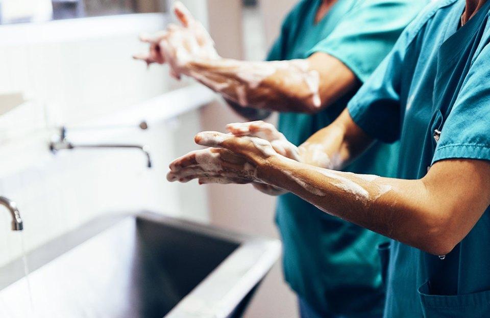 Doctors washing hands