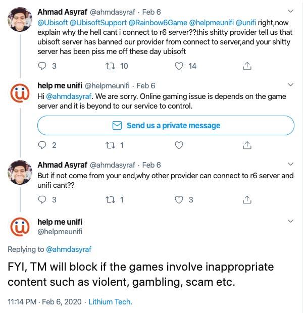 HelpMeUnifi game server blocked tweets