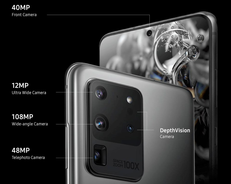 Samsung Galaxy S20 Ultra camera labels