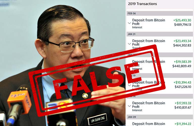Fake Lim Guan Eng bitcoin profits