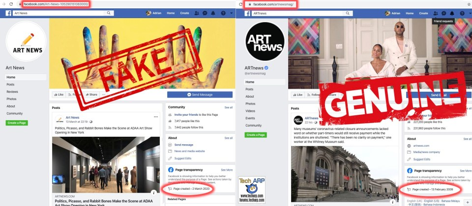 Fake and Real Art News Facebook pages