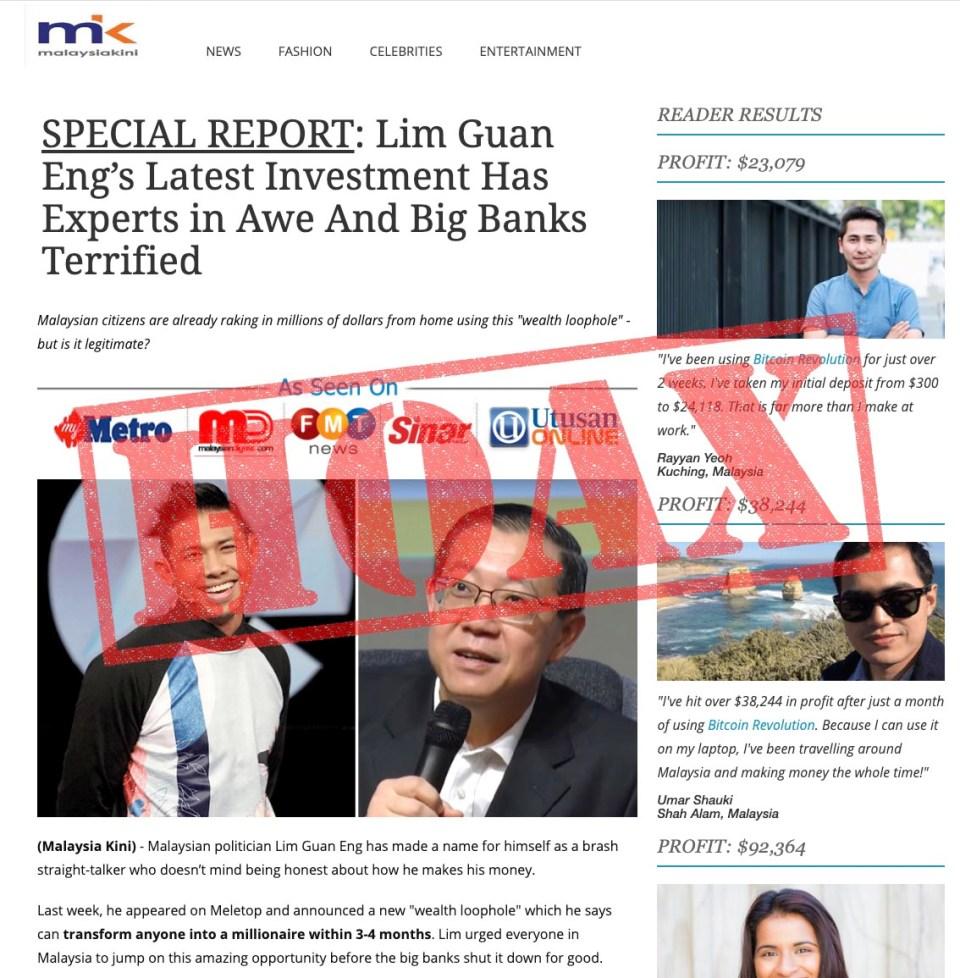 Lim Guan Eng MalaysiaKini fake article