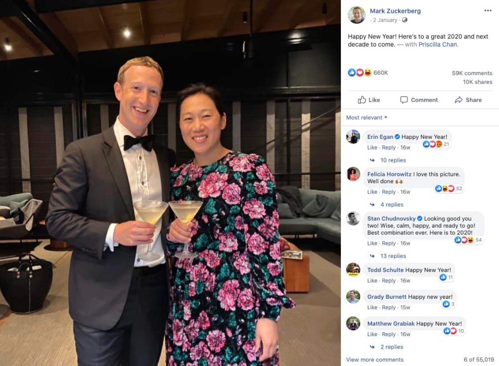 Mark Zuckerberg and Priscilla Chan Happy New Year 2020