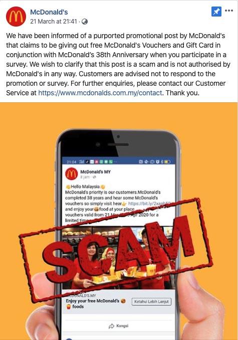 McDonald's Malaysia confirms voucher scam