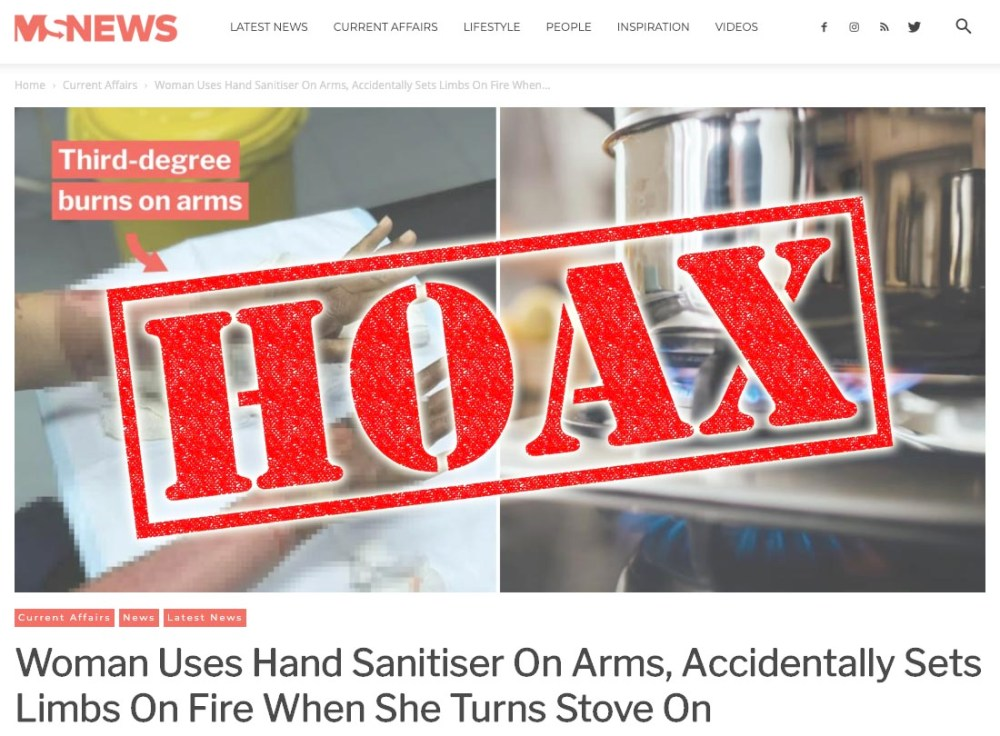 Fact Check : Hand Sanitiser Catches Fire, Burns Woman!