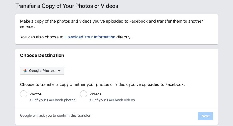 Facebook Photo + Video Transfer Tool Step 03
