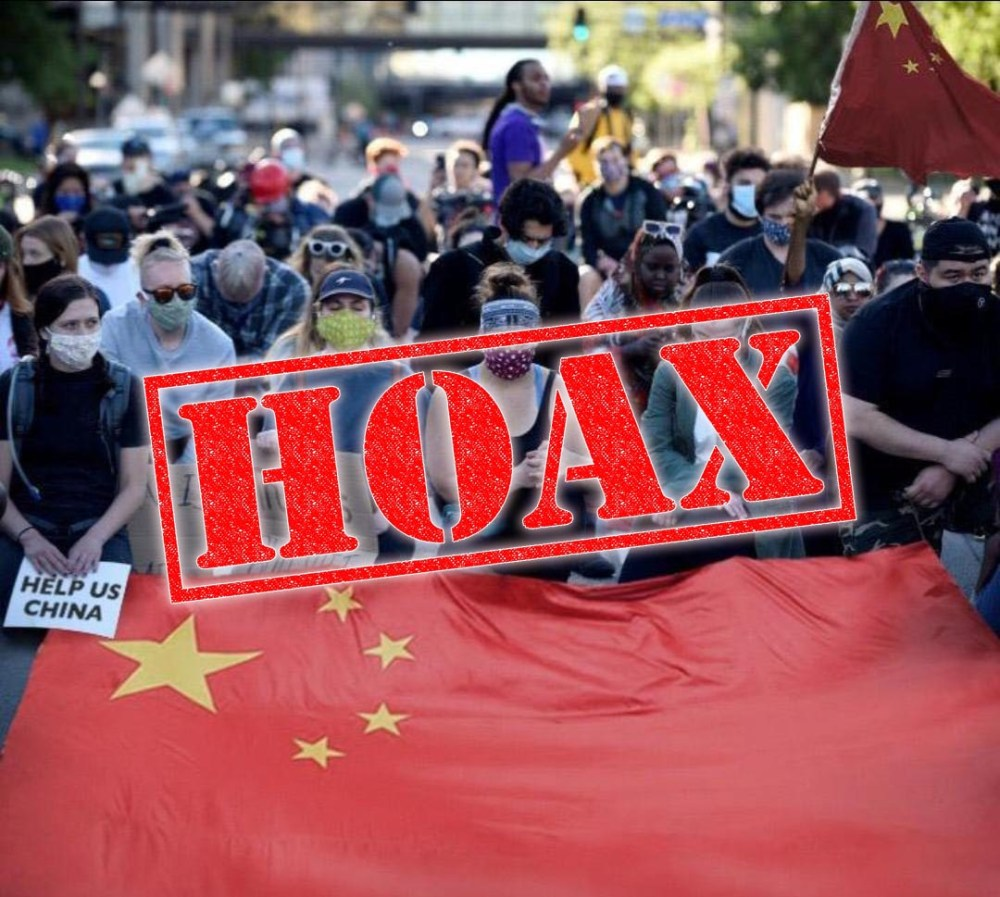 US Protestors Asking China For Help hoax 02
