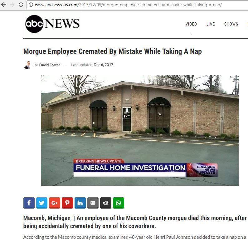 Fact Check : Morgue Employee Cremated By Mistake?
