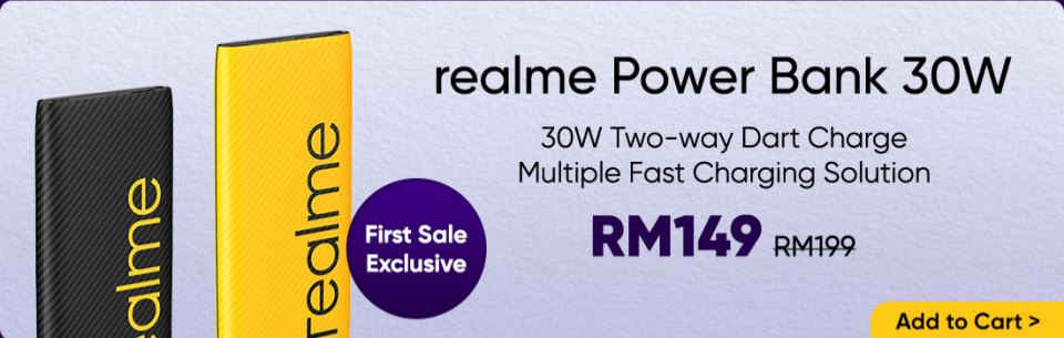 Realme 30W Power Bank August 2020 sale