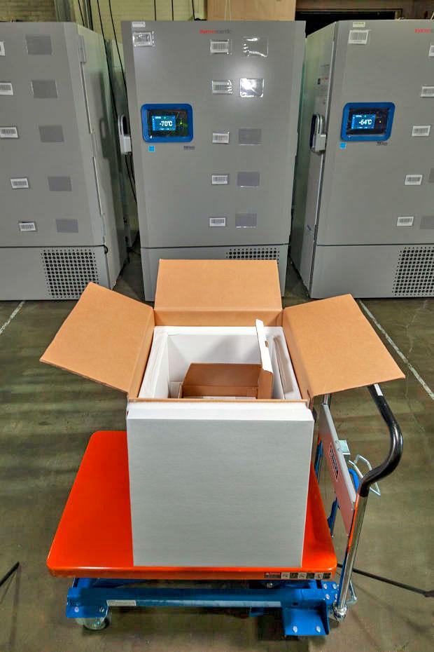 Pfizer COVID-19 vaccine shipping box