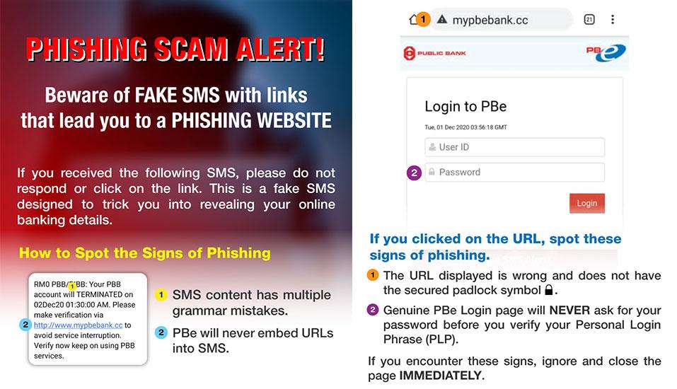Public Bank Phishing SMS warning