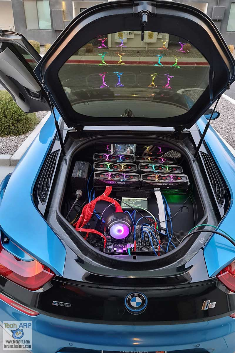 GeForce RTX 3080 Mining Rig Inside A BMW i8 Hybrid!