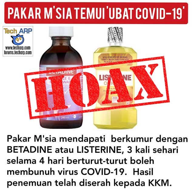 Betadine + Listerine Cannot Prevent COVID-19!
