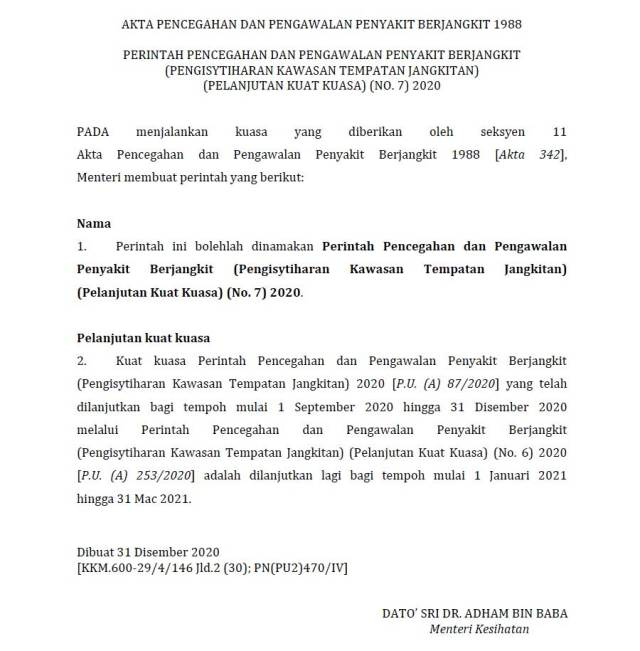 Malaysia RMCO / PKPP Extended To 31 March 2021!