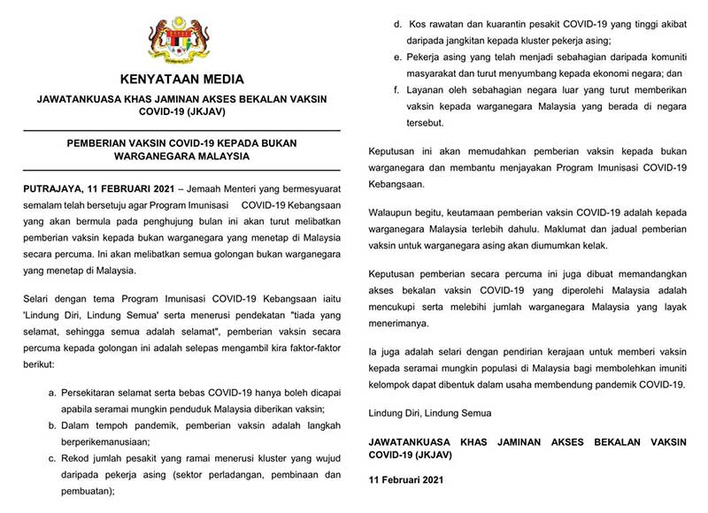 Malaysia : FREE COVID-19 Vaccine For All Foreign Residents!