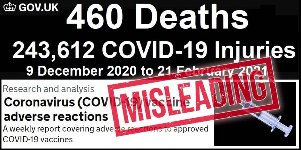 460 Deaths + 243,612 Injuries From COVID Vaccines In UK?
