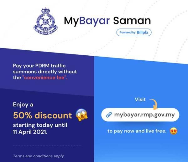 Get 50% Off On PDRM Fines Using MyBayar Saman!