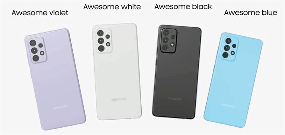 Samsung Galaxy A72 colour options