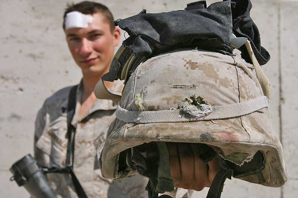 Soldier survives bullet to helmet