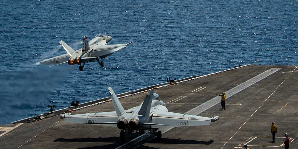 Super Hornets launching off USS Theodore Roosevelt