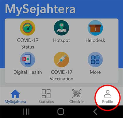 Selecting Profile in MySejahtera