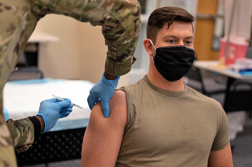 US soldier receiving COVID-19 vaccine
