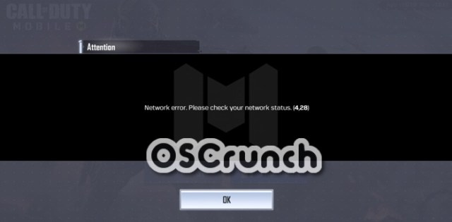 call of duty mobile network error 4,28