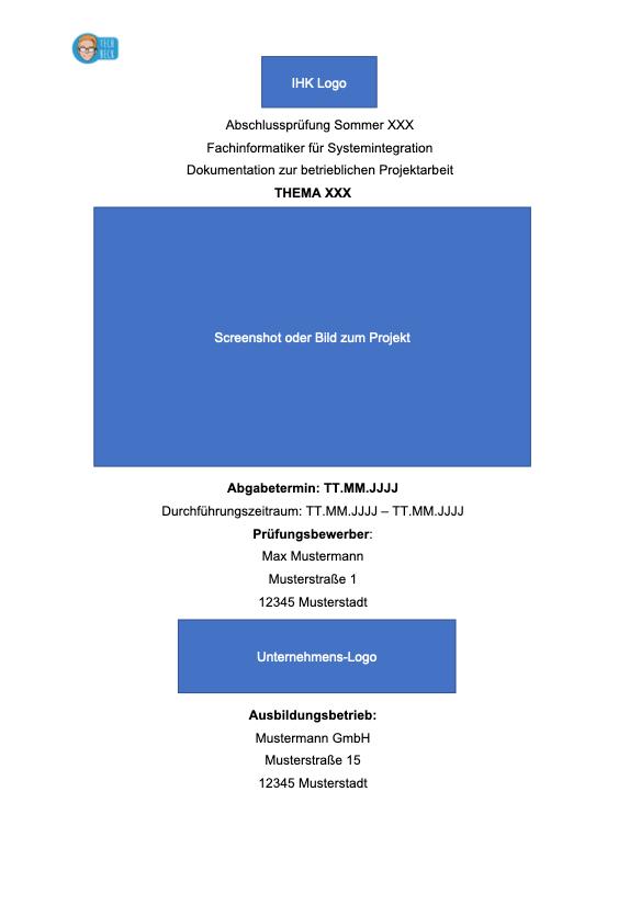 Deckblatt für die Projektdokumentation (betriebliche Projektarbeit / IT-Berufe / Fachinformatiker )